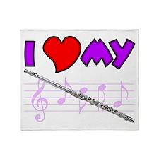 I Love My Flute Throw Blanket