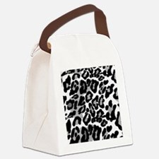Gray Leopard Pattern Canvas Lunch Bag