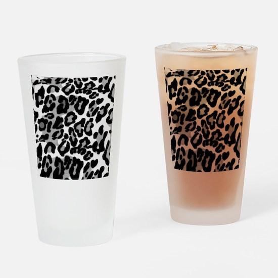 Gray Leopard Pattern Drinking Glass