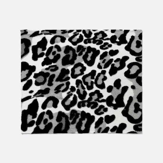 Gray Leopard Pattern Throw Blanket