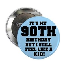Blue 90th Birthday Button