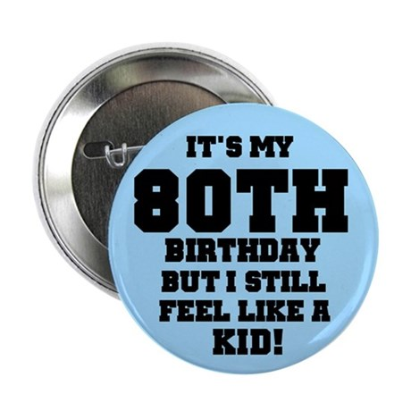 Blue 80th Birthday Button