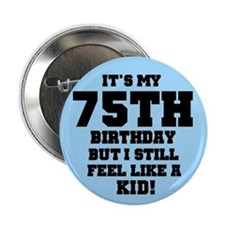 Blue 75th Birthday Button