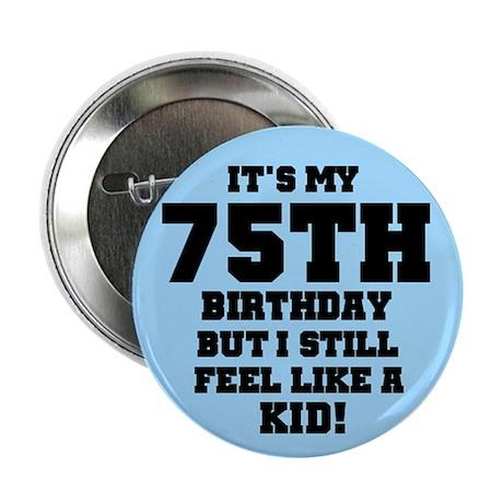 Blue 75th Birthday Button