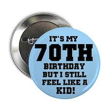 Blue 70th Birthday Button