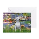 Lilies2-Bull Terrier (P) Greeting Card