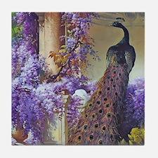 Bidau Peacock, Doves Wisteria Tile Coaster