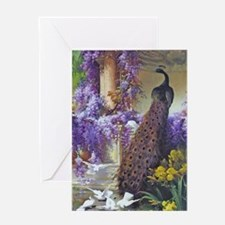 Bidau Peacock, Doves Wisteria Greeting Cards