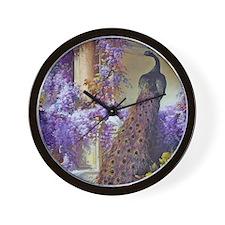 Bidau Peacock, Doves Wisteria Wall Clock