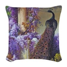 Bidau Peacock, Doves Wisteria Woven Throw Pillow