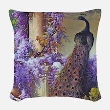 Bidau Peacock, Doves Wisteria Woven Throw Pillow
