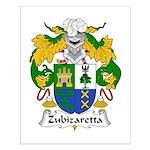 Zubizaretta Family Crest Small Poster