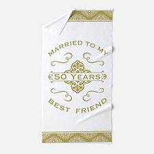 Married My Best Friend 50th Beach Towel