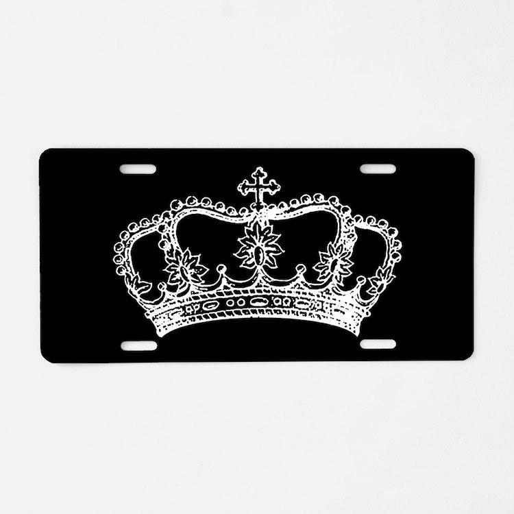 Vintage Crown Aluminum License Plate