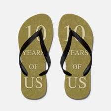 10th Wedding Anniversary Flip Flops