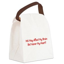 MS Affects My Brain Never My Hear Canvas Lunch Bag