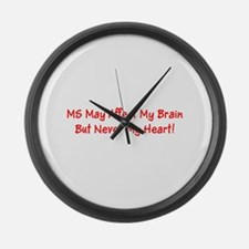 MS Affects My Brain Never My Hear Large Wall Clock