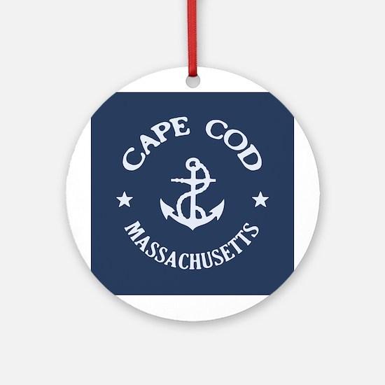 Cape Cod Anchor Ornament (Round)
