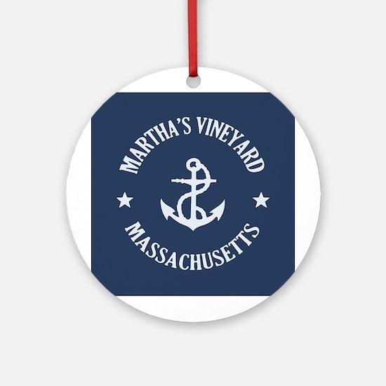 Martha's Vineyard Anchor Ornament (Round)