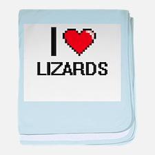 I Love Lizards baby blanket