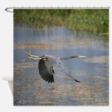 Flying Heron Shower Curtain