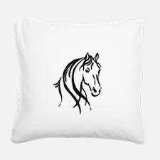 Black Horse Square Canvas Pillow
