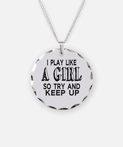 Play Like a Girl Necklace Circle Charm