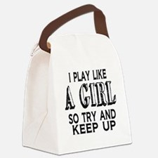 Play Like a Girl Canvas Lunch Bag