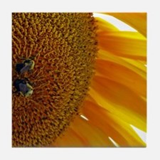 Sunflower with Bumblebees Tile Coaster