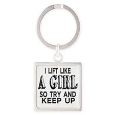 Lift Like a Girl Square Keychain