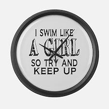 Swim Like a Girl Large Wall Clock