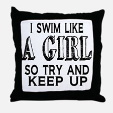 Swim Like a Girl Throw Pillow