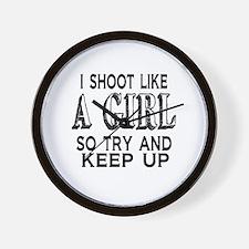 Shoot Like a Girl Wall Clock