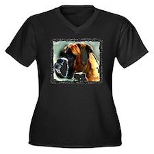 Boxer Dog Women's Plus Size V-Neck Dark T-Shirt