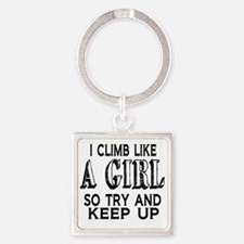Climb Like a Girl Square Keychain