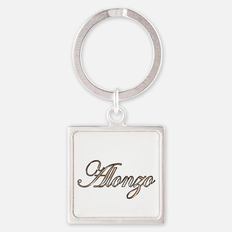 Gold Alonzo Square Keychain