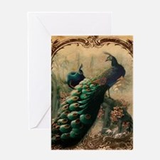 romantic paris vintage peacock Greeting Cards