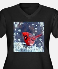 winter snow red cardinal Plus Size T-Shirt