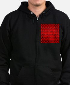 Black Red Cool Shapes Carla's Fa Zip Hoodie