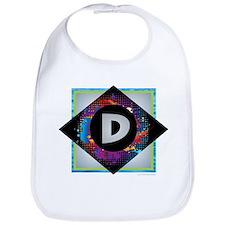 D - Letter D Monogram - Black Diamond D - Lett Bib