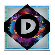 D - Letter D Monogram - Black Diamond Tile Coaster