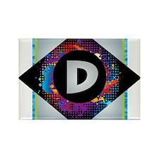 D - Letter D Monogram - Black Diamond D - Magnets