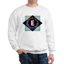 E - Letter E Monogram - Black Diamond E Sweatshirt