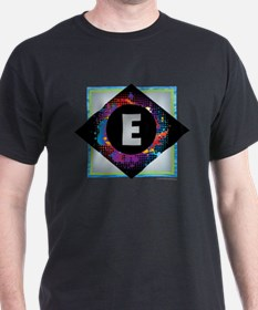 E - Letter E Monogram - Black Diamond E - T-Shirt