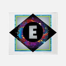 E - Letter E Monogram - Black Diamon Throw Blanket