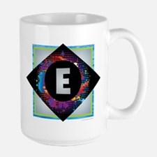 E - Letter E Monogram - Black Diamond E - Let Mugs