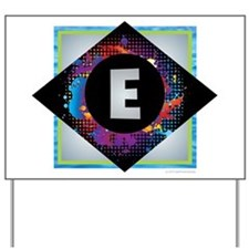 E - Letter E Monogram - Black Diamond E Yard Sign