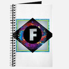 F - Letter F Monogram - Black Diamond F - Journal