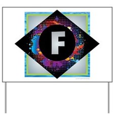 F - Letter F Monogram - Black Diamond F Yard Sign