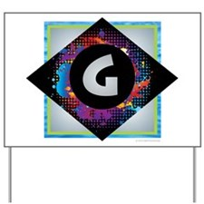 G - Letter G Monogram - Black Diamond G Yard Sign